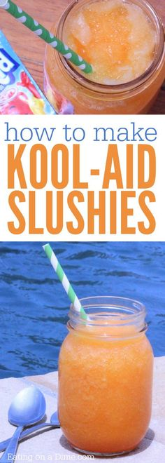 How to make a Slushie with Kool Aid mix. These kool aid slushies are fun for kid… How to make a Slushie with Kool Aid mix. These kool aid slushies are fun for kids in the summer. This homemade slurpee recipe is easy to make. Homemade Slurpee Recipe, Slushie Recipe, Homemade Smoothies, Recipe Recipe, Kool Aid, Kid Drinks, Frozen Drinks, Party Drinks, Frozen Lemonade
