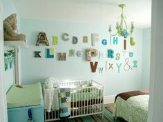 good idea for a baby's room - spearmint-baby-alphabet-wall Alphabet Nursery, Alphabet Wall Art, Alphabet Letters, Letter Wall, Wooden Letters, Boys Room Colors, Wall Colors, Turquoise Nursery, Spearmint Baby