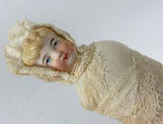 Seltene Alte Puppe Künstlerpuppe Bisquit Porzellan Spitze, 1900er Jahre