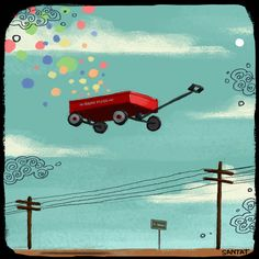 Gravity by DanTat Dan Santat, Radio Flyer, Book Illustration, Great Artists, Artsy Fartsy, Childrens Books, Illustrators, Art Gallery, Kids