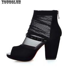 Black Summer Boots Womens Sexy Rivets Peep toe Sandals Elegant Ladies Mesh Summer Shoes Fashion Women Zip Boot Square High Heel alishoppbrasil