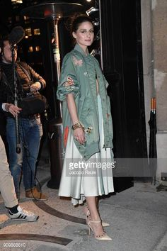 Olivia Palermo is seen arriving at Valentino Haute Couture Spring Summer 2018 show as part of Paris Fashion Week on January 24 2018 in Paris France
