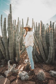 If you're coming to Phoenix, one must-see that should be added to your list of to-do's is the Phoenix Desert Botanical Gardens. It's a beautiful spot to wander and get lost. Desert Botanical Garden, Botanical Gardens, Baby Denim Jacket, Love Run, Vacation Wear, Run Around, Suede Booties, Soft Leather, Wander