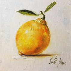 Lemon with Two Leaves Still Life Original Oil Painting by Nina #OilPaintingStillLife