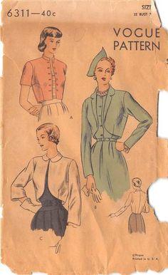 VOGUE 6311 - FROM 1948 - UNCUT - MISSES BOLERO JACKET
