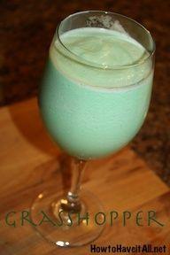 Grasshopper Frozen Mixed Drink 3/4 oz green creme de menthe 3/4 oz white creme de cacao 3/4 oz light cream