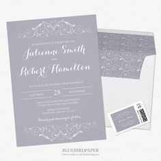 A vintage wedding invitation, soft, peaceful, serene and elegant perfect for a winter wedding, by the neutrality of the lilac gray color, this invitation also can be used for any type of wedding. View more details and paper options here:http://www.zazzle.co.uk/grand_soiree_lilac_gray_wedding_invitations-256352546468339430?rf=238942562148071651