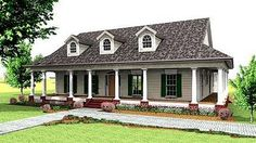 southern homes with wrap around porches   ... this classic southern country design wrap around porches and dormers