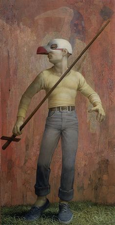 Robert Vickrey American, (New York City, 1926 - 2011) Halloween Mask, 1953 American Painting Egg tempera on masonite panel