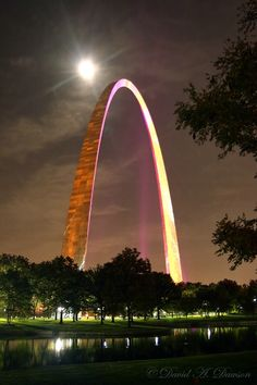 One night a year the Gateway Arch, (St. Louis, Missouri), is lit with pink lights for breast cancer awareness.