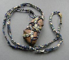 Freeform peyote pendant with piece of wood