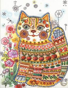Extremely ingenious and beautiful, cats painted by Oxana Zaika Gatos Cat, Kinds Of Cats, Cat Quilt, Graphics Fairy, Art Original, Cat Colors, Cat Crafts, Cat Drawing, Cute Illustration