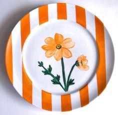 Aparelho Flores - prato sobremesa laranja