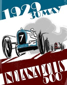 Indianapolis Race Car 1929 Indianapolis 500 Race by FlyGraphics Art Deco Posters, Vintage Posters, Really Cool Photos, Automobile, Race Party, Vintage Racing, Vintage Auto, Car And Driver, Courses