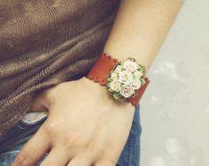 white polymer clay rose bracelet, leather flowers bracelet, vintage bracelet