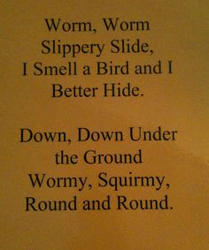 Music time: kids pretend to be worms and wiggle around the room while singing the song then the teacher(bird) snaches one up at the end of the song!