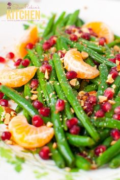 Green Bean Almondine with Pomegrante and Clementines: A quick and easy side dish for your Easter menu!