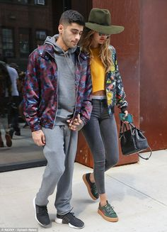 Gigi Hadid and beau Zayn Malik are a dizzying duo in patterned jackets