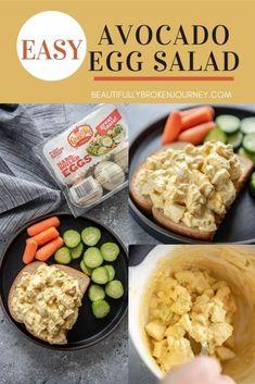 Avocado Egg Salad - Beautifully Broken Journey Easy Egg Salad, Avocado Egg Salad, Tuna Salad, Chicken Salad, Avocado Recipes, Sandwich Recipes, Salad Recipes, Healthy Recipes, Easy Recipes