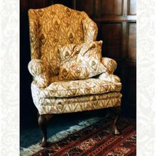 Traditionally upholstered Queen Anne Wing Chair in Darnley, designed and made by Stuart Interiors Wingback Chair, Armchair, French Country Kitchens, Country French, Wing Chair, Solid Oak, All Design, Accent Chairs, Oak Chairs