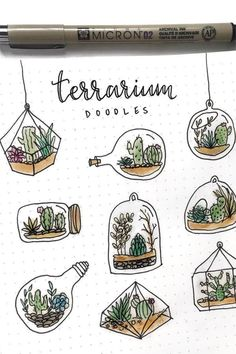 Couple of people suggested to see some doodles of terrarium, so here is a Ter. -// Couple of people suggested to see some doodles of terrarium, so here is a Ter. - Hand drawn nature & plants doodles by Croc. Bullet Journal Inspo, Bullet Journal Lettering Ideas, Bullet Journal Notebook, Bullet Journal Aesthetic, Bullet Journal School, Bullet Journal Themes, Bullet Journal Decoration, Bullet Journal With Stickers, Journal Ideas