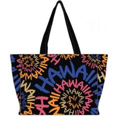 "Canvas Tote Bag Hawaii Swirl 16"""" x 11"""" x 5"""""