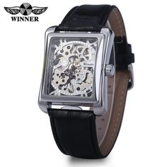 Winner W09 Men Mechanical Hollow Out Watch Leather Band  Life Water Resistance #>=#>=#>=#>=#> Click on the pin to check out discount price, color, size, shipping, etc. Save and like it!