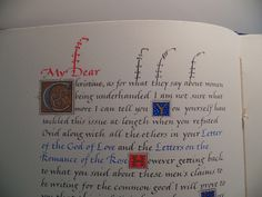 Close-up of a page of a manuscript book featuring calligraphy of text by medieval author Christine de Pizan from her book, The City of Ladies. The Abbey Studio. #theabbeystudio #calligraphy #medieval #artistsbooks