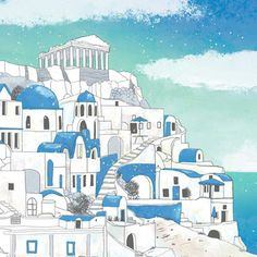 Your place to buy and sell all things handmade Santorini, Greece - Essi Kimpimaki Greece Drawing, Greece Painting, House Illustration, Travel Illustration, Illustrations, Colorful Drawings, Art Drawings, Beauty And The Beast Tattoo, Greece Art