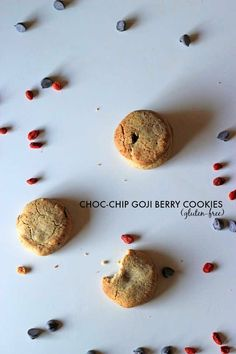 these gluten-free (and almost-healthy!) choc chip cookies are packed with juicy goji berries for that little something extra
