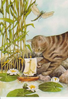 Cat with a play boat, by Inge Look