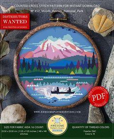 Cross Stitch Embroidery Mount Rainier National Park Cross Stitch Design for Instant - ♥ Modern Cross Stitch Patterns, Counted Cross Stitch Patterns, Cross Stitch Designs, Cross Stitch Embroidery, Learn Embroidery, Embroidery Patterns, Embroidery Art, X 23, Mount Rainier National Park