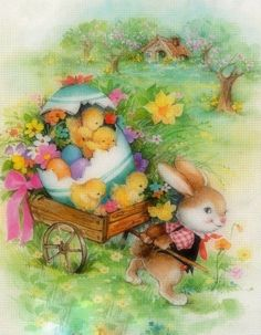 Easter Bunny and baby chicks