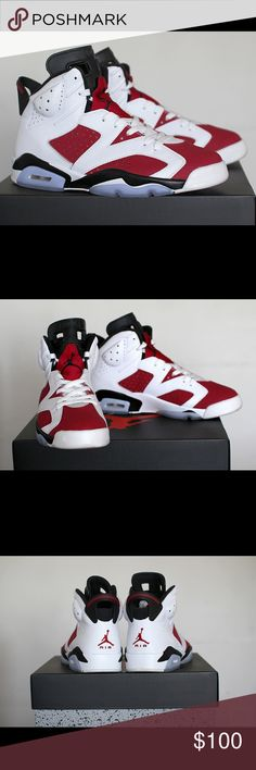 ‼️on hold‼️Jordan 6 carmine (ds*) Red white Icey blue sole | dead stock/never worn | great shoe Jordan Shoes Sneakers