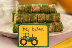 John Deere Tractor Birthday Party - Our Family Unit. Hay bales!   would be cute for Clay's party.  Of course it would have to be RED!