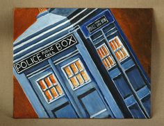 """TARDIS Doctor Who Police Phone Box Original Acrylic Painting 8"""" x 10"""" by dragonbee on Etsy"""