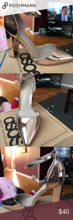 ASOS PENALTY POINTED HEELS BRAND NEW NEVER WORN SIZE 8 METALLIC NUDE POINTY TOE HEEL ASOS Shoes Heels