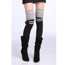 Women's two Colour with Grey Stripe Knit Thigh Knee High-Sock Legging Embellished with one mini black knited flower. $7.99, via Etsy.