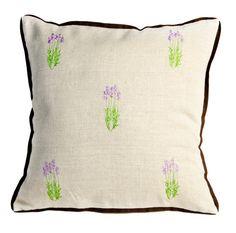 Lavender embroidered linen pillow by MonartHomeDecor on Etsy, $35.00