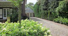 """Rodenburg Tuinen: klassieke villa met gemetselde muurtjes om hoogteverschillen op te vangen. Gebakken klinkers zijn gecombineerd met strakke betontegels. De tuin heeft een diversiteit aan beplanting, er is wel rekening gehouden met voldoende """"groene structuur"""" zodat de tuin ook in het najaar en in de winter voldoende groen en aantrekkelijk blijft."""