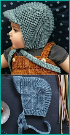 Vintage Baby Bonnet With Visor - Free Knitting Pattern (Beautiful Skills - Croch. Vintage Baby Bonnet With Visor - Free Knitting Pattern (Beautiful Skills - Crochet Knitting Quilting) : Vintage Baby Baby Hat Knitting Patterns Free, Baby Hats Knitting, Vintage Knitting, Baby Patterns, Free Knitting, Knitted Hats, Crochet Patterns, Free Pattern, Knitting For Kids
