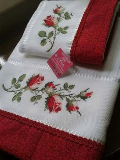 Towel with Cross-Stitch Cross Stitch Rose, Cross Stitch Borders, Cross Stitch Flowers, Cross Stitch Designs, Cross Stitching, Cross Stitch Patterns, Ribbon Embroidery, Cross Stitch Embroidery, Embroidery Patterns
