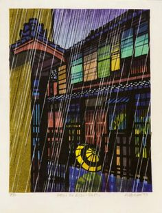 "[ ""Rain in Gion, Kyoto"" (1973) by Clifton Karhu ]"