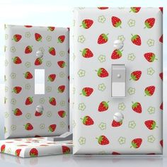 DIY Do It Yourself Home Decor - Easy to apply wall plate wraps | Strawberry Love Fruit and flowers wallplate skin sticker for 1 Gang Toggle LightSwitch | On SALE now only $3.95