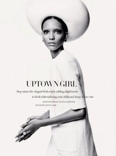 FAB Editorial: Cora Emmanuel in Sixties Chic in Harper's Bazaar UK February 2013 Issue