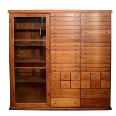 Elaborate Mission Apothecary Cabinet with 44 Drawers | From a unique collection of antique and modern apothecary cabinets at https://www.1stdibs.com/furniture/storage-case-pieces/apothecary-cabinets/