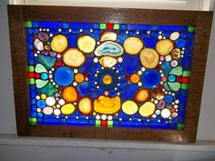 Stained Glass Jewels Agate Slice Cobalt Blue Stained Glass Window |