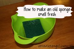 how to make old sponge smell fresh with essential oils.