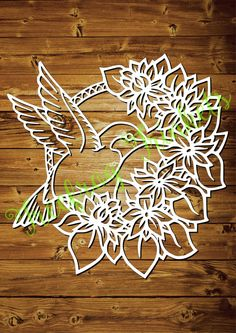 The Hummingbird CYO papercutting template by TreefrogsTrinkets