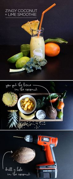 Zingy Coconut + Lime Smoothie - includes kale and mango #healthy #nurturing #smoothie